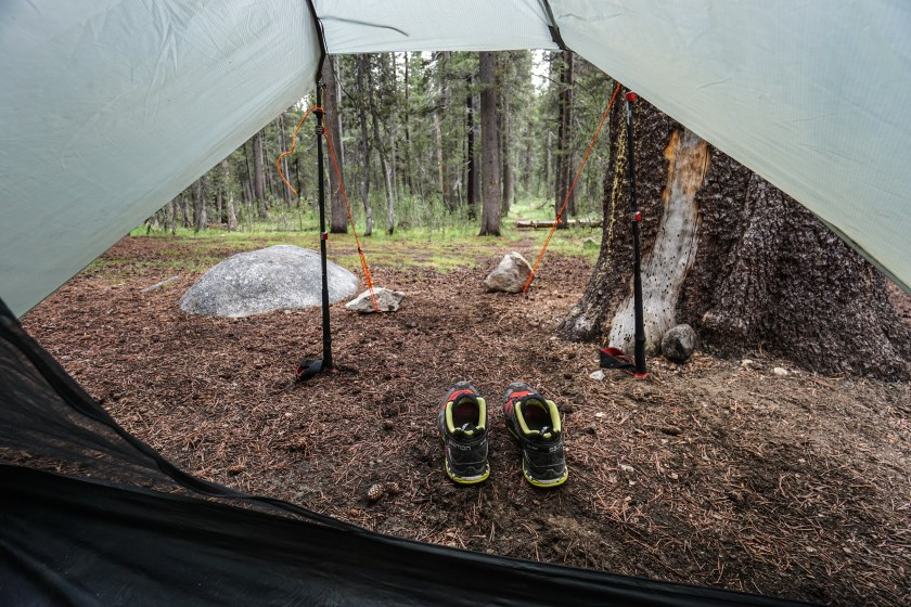 We got to the Tuolumne Post Office and backpacker's campground just in time, as the rain started pouring down upon our arrival.