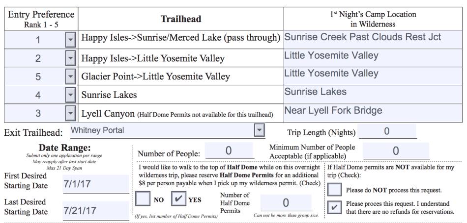 John Muir Trail permit application process form 2017 JMT guide