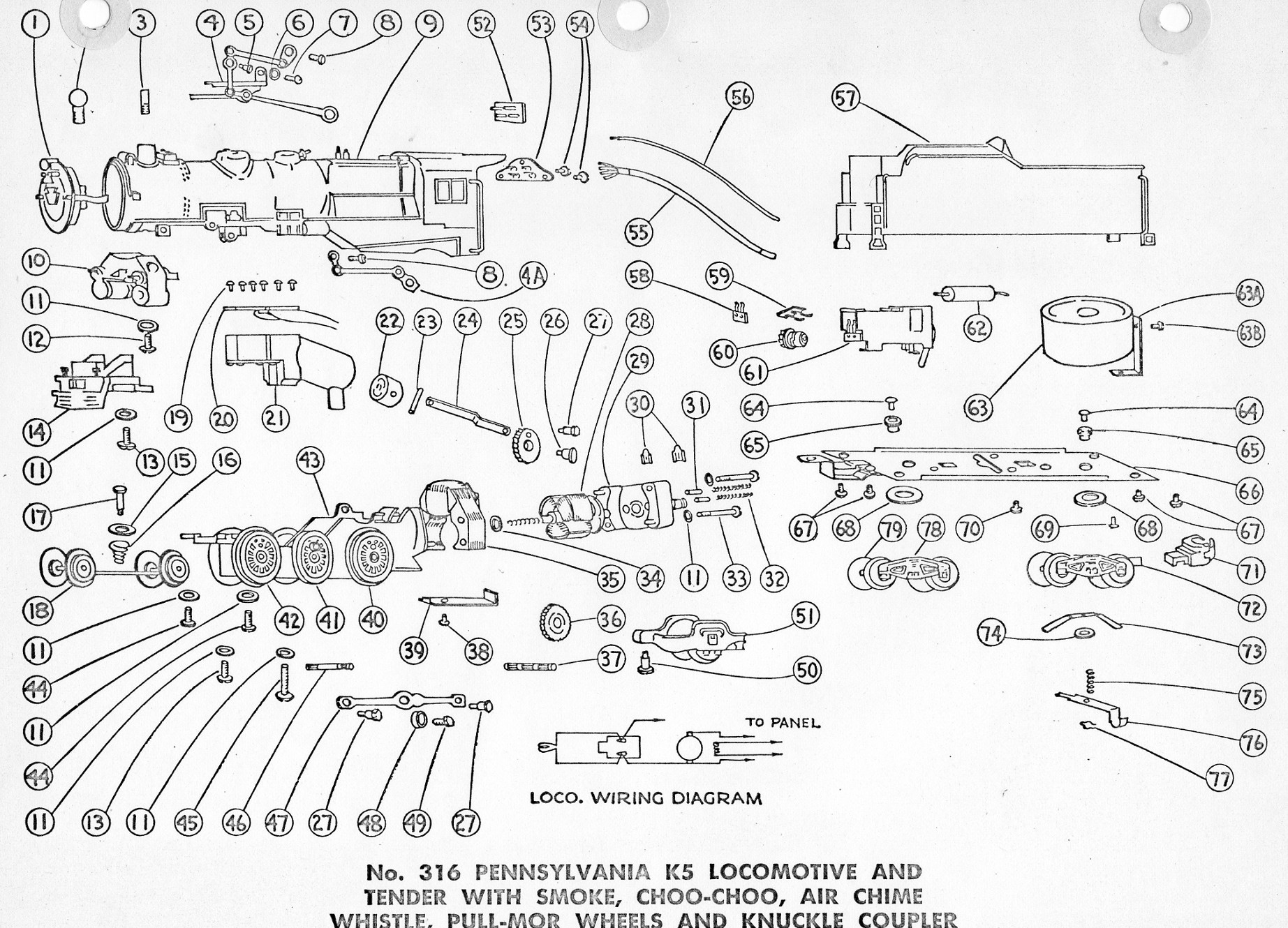 American Flyer Locomotive 316 Parts List Amp Diagram
