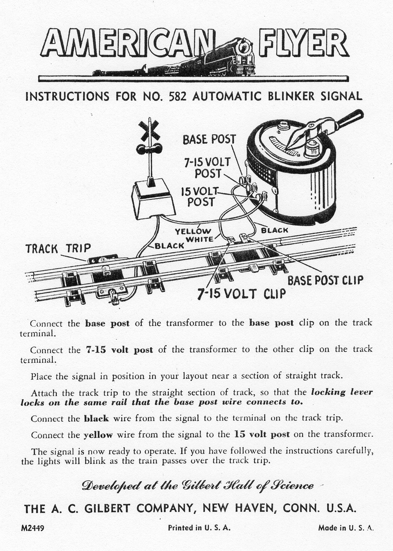 American Flyer Automatic Blinker Signal 582 Instructions