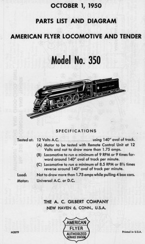 American Flyer Model 350 Parts List and Diagram | TrainDR