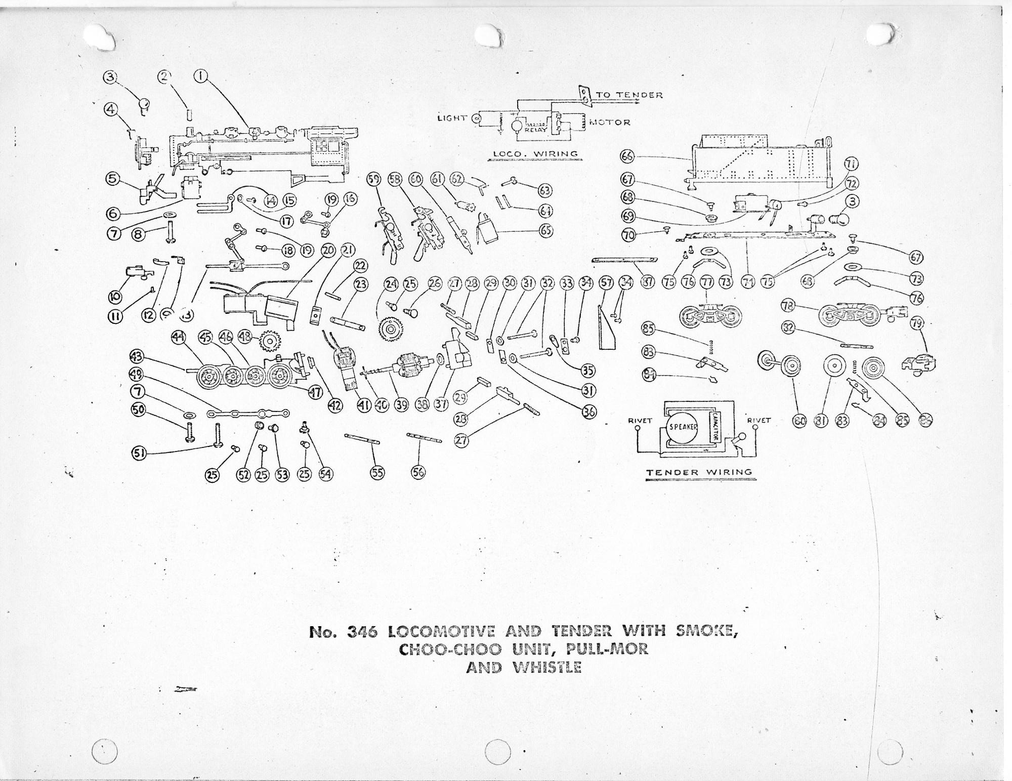 American Flyer Locomotive 346 Parts List Amp Diagram