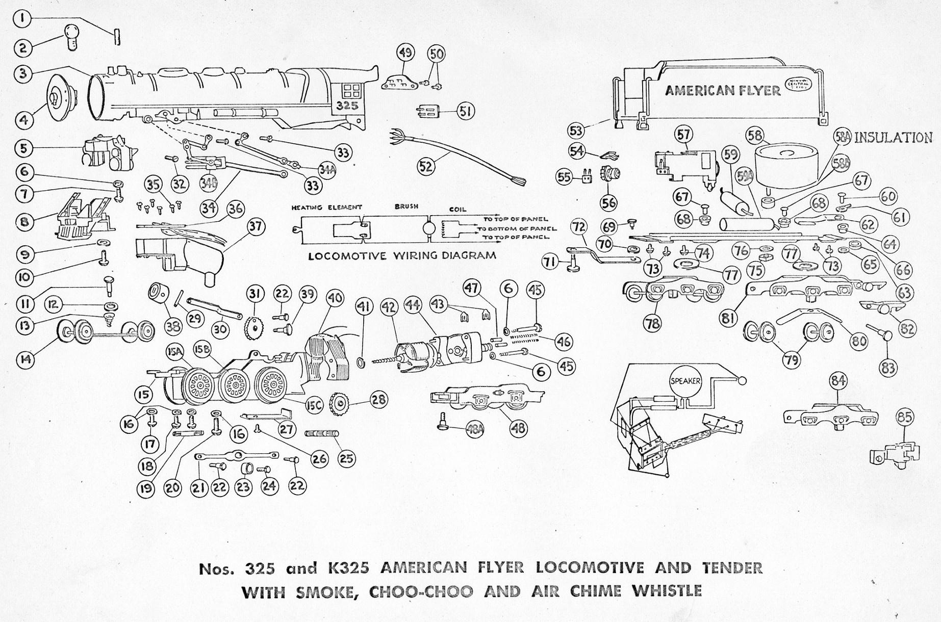 American Flyer Locomotive 325 325ac Amp K325 Parts List