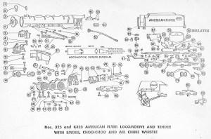 American Flyer Lootive 325, 325AC & K325 Parts List