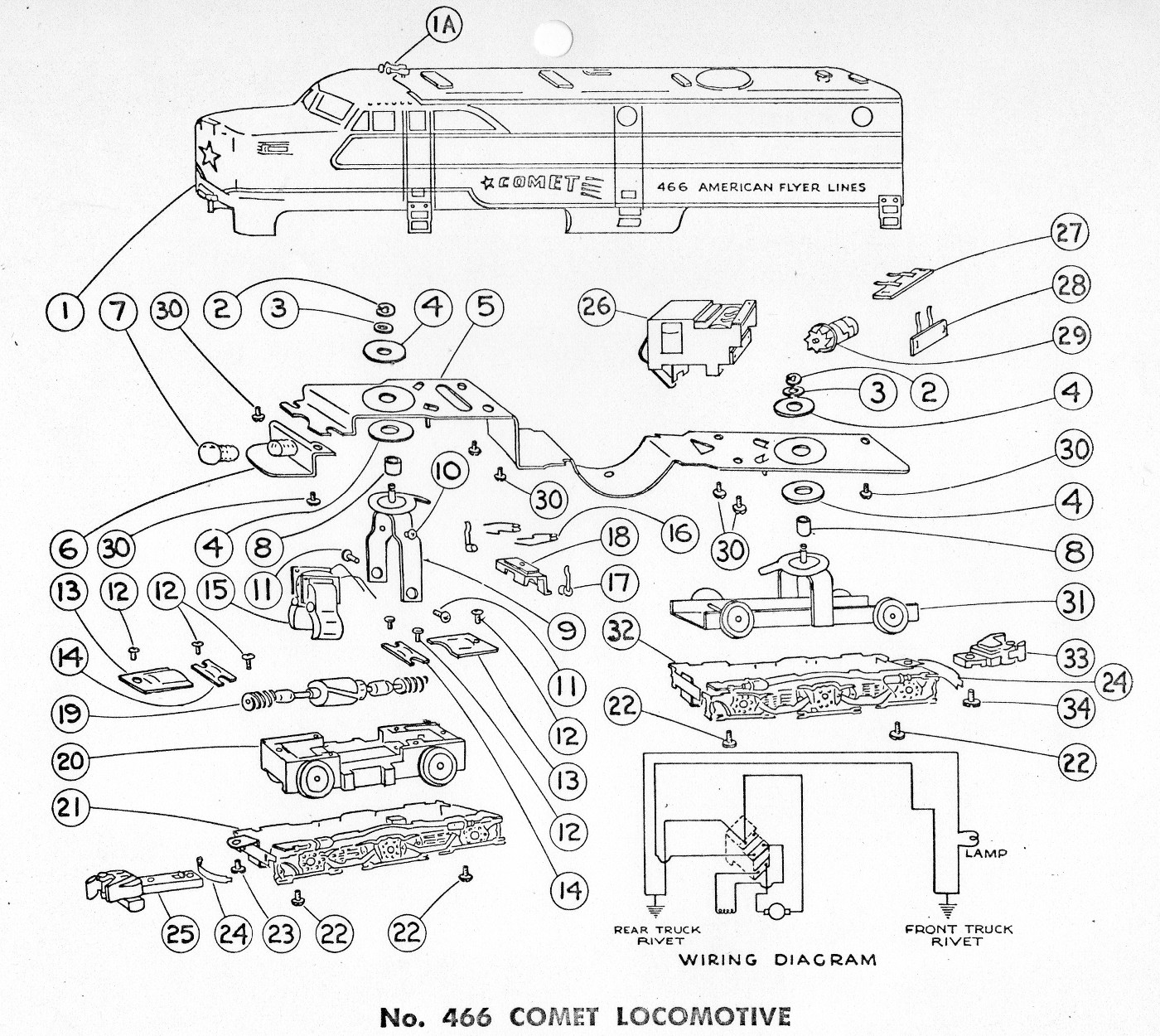 American Flyer Locomotive 466 Parts List Amp Diagram