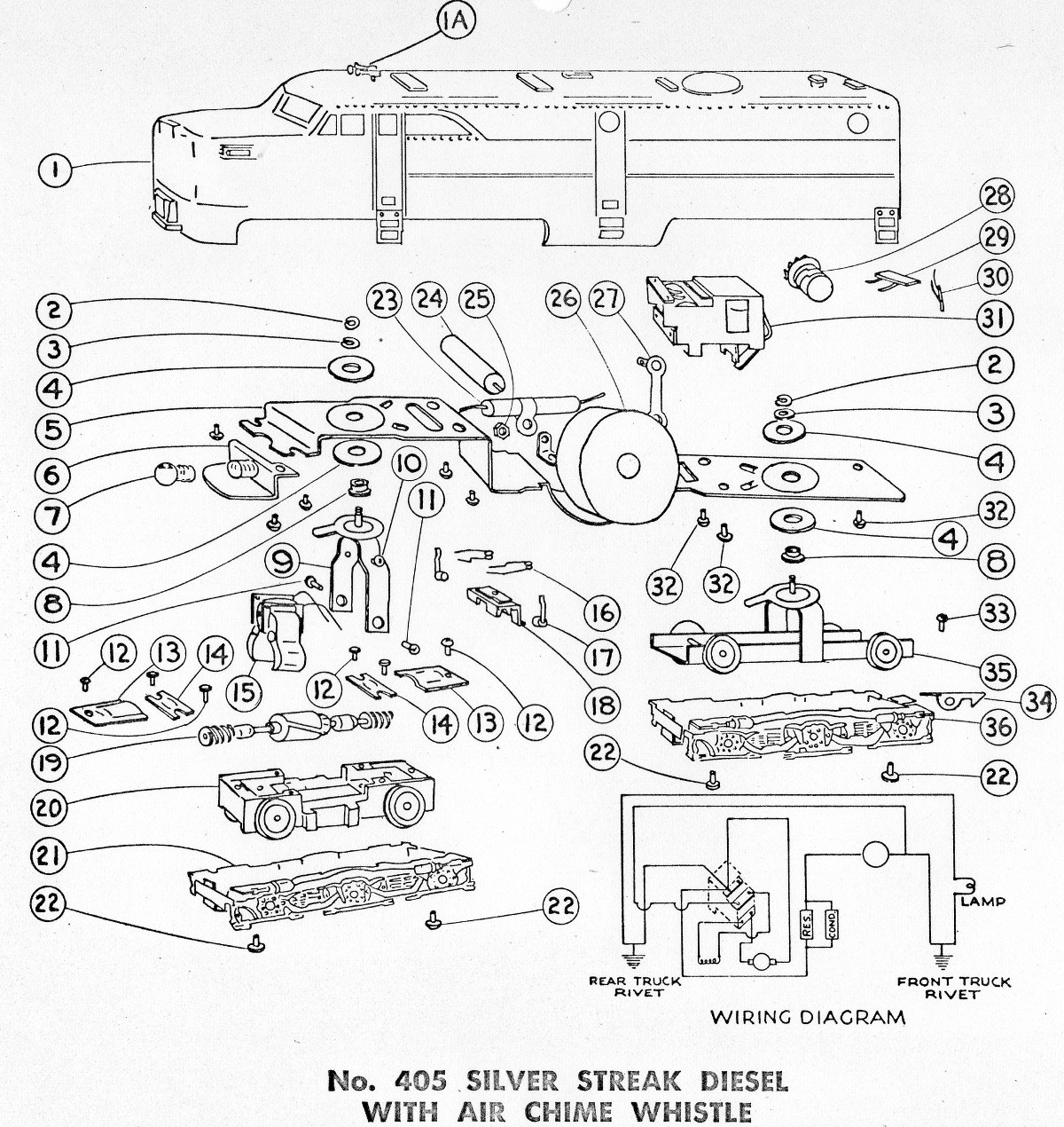 American Flyer Locomotive 405 Parts List Amp Diagram