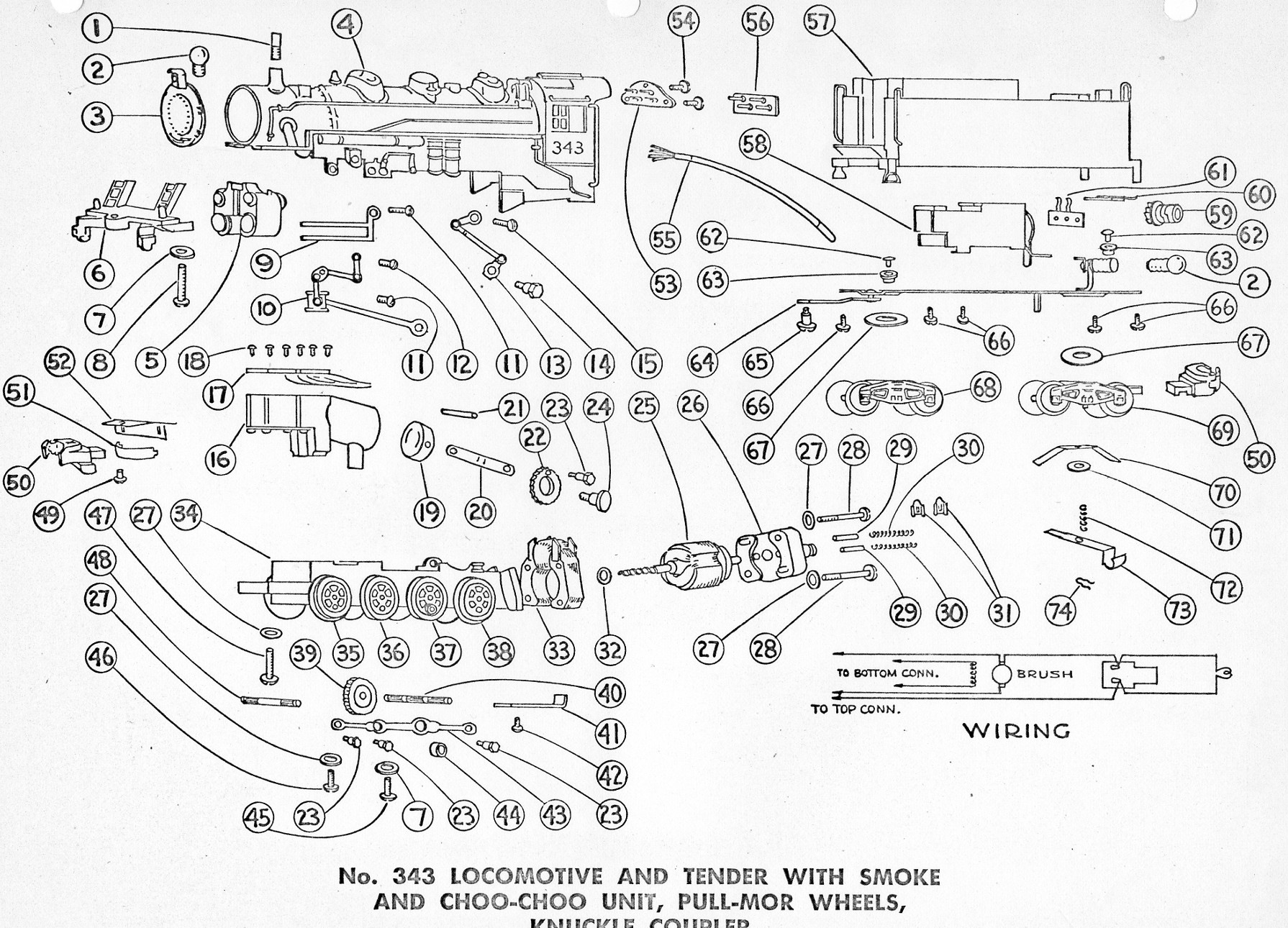 American Flyer Locomotive 343 Parts List Amp Diagram