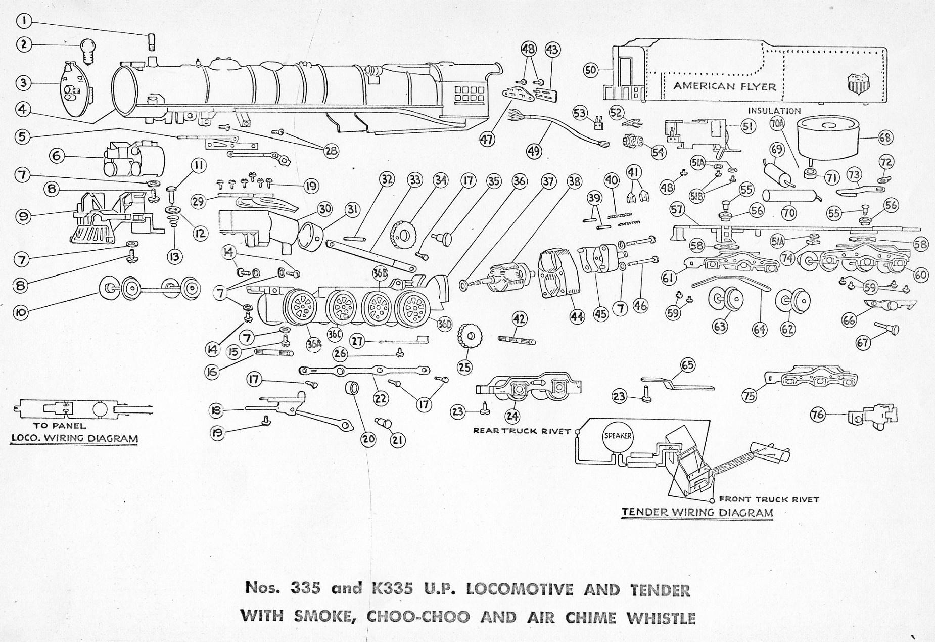 American Flyer Locomotive 335 Amp K335 Parts List And Diagram