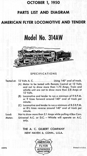 American Flyer Lootive 314AW Parts List & Diagram | TrainDR