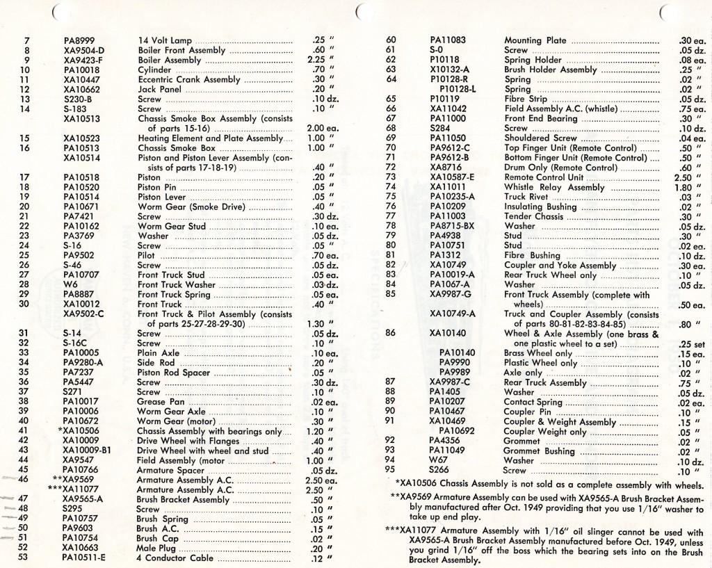 American Flyer Locomotive 314aw Parts List Amp Diagram