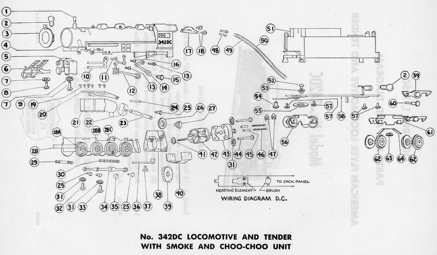 American Flyer Locomotive 342dc Parts List Amp Diagram