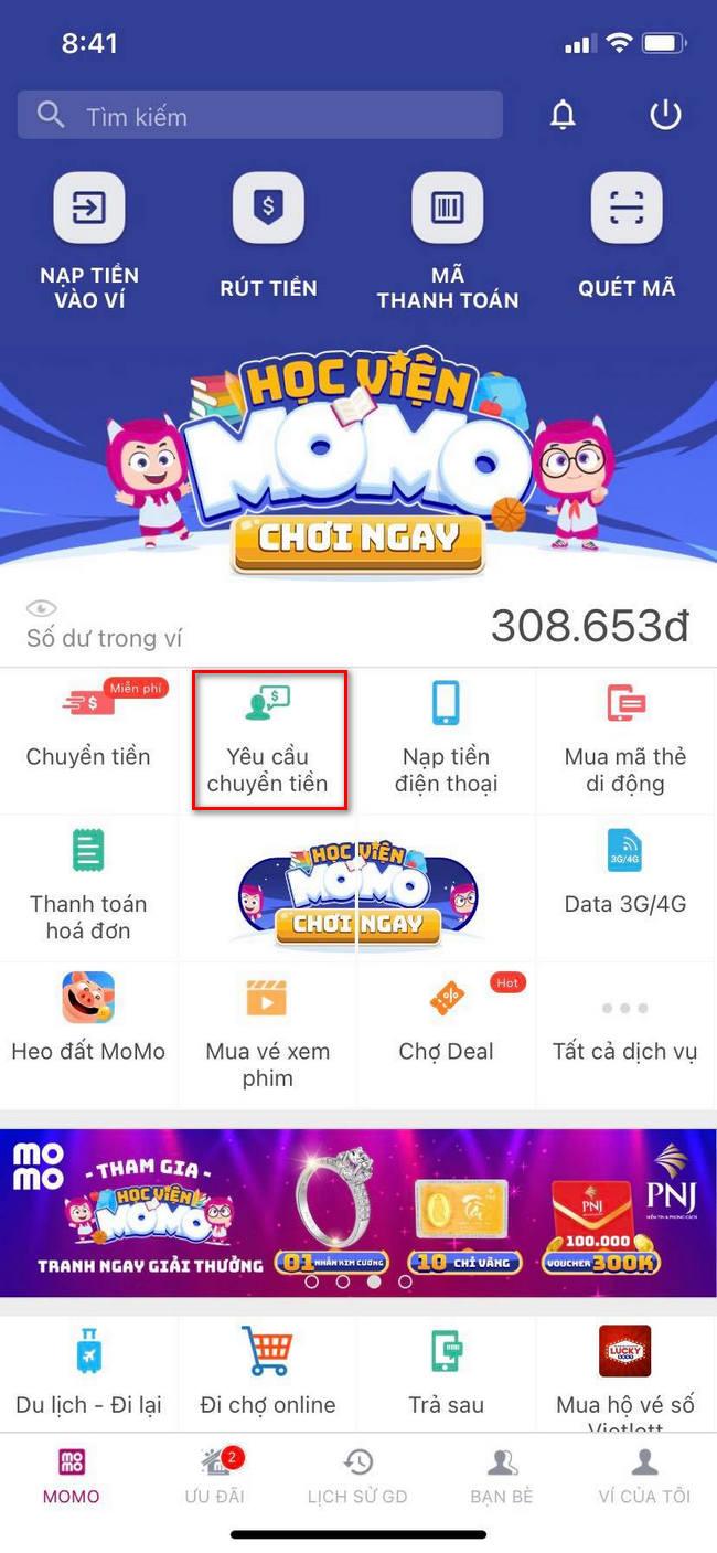 Cách tạo liên kết chuyển tiền trên Momo 1