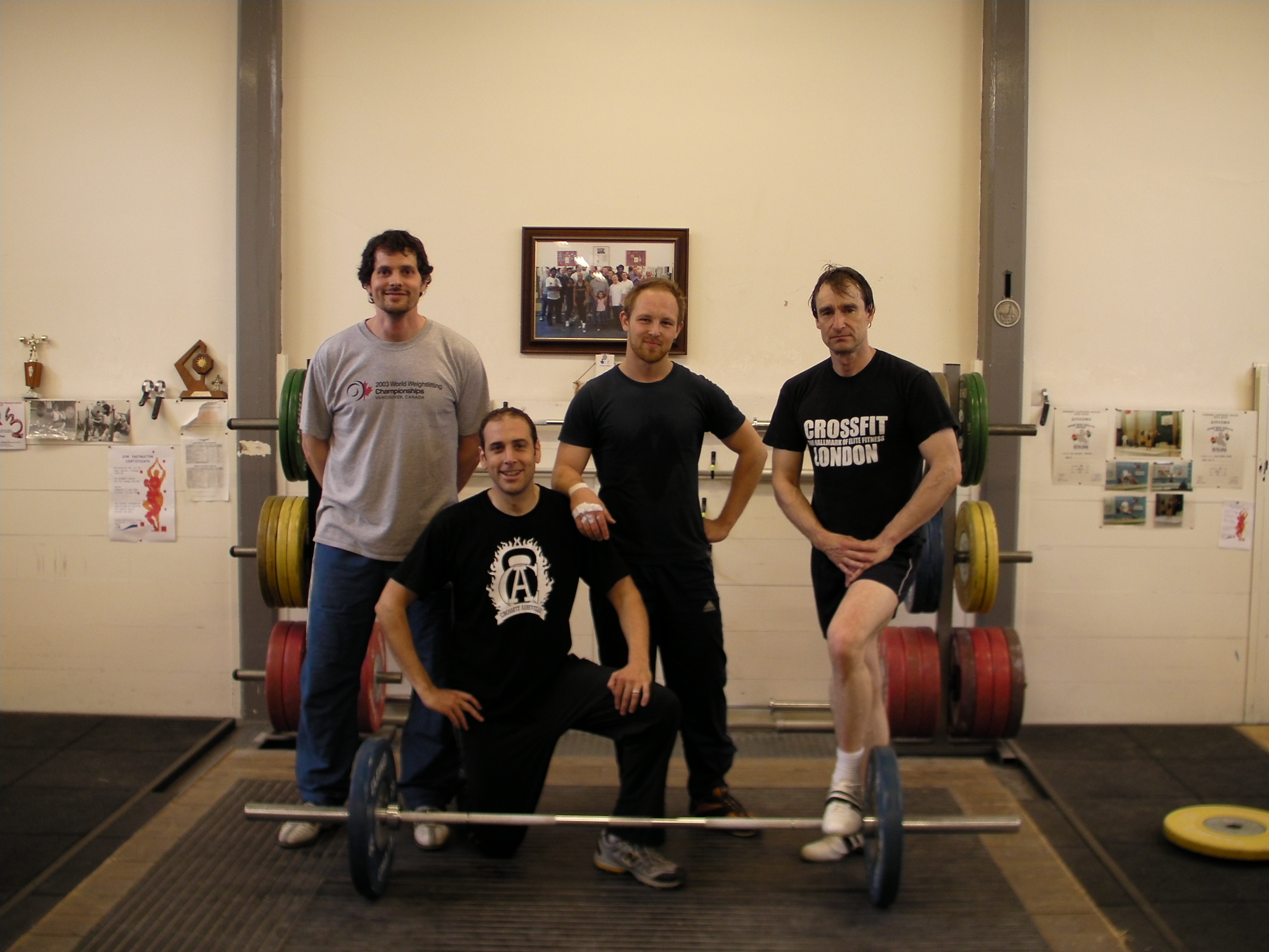 Giles Greenwood, Me, a london CrossFitter, and Andrew Stemler
