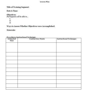 Free Lesson Plan Format