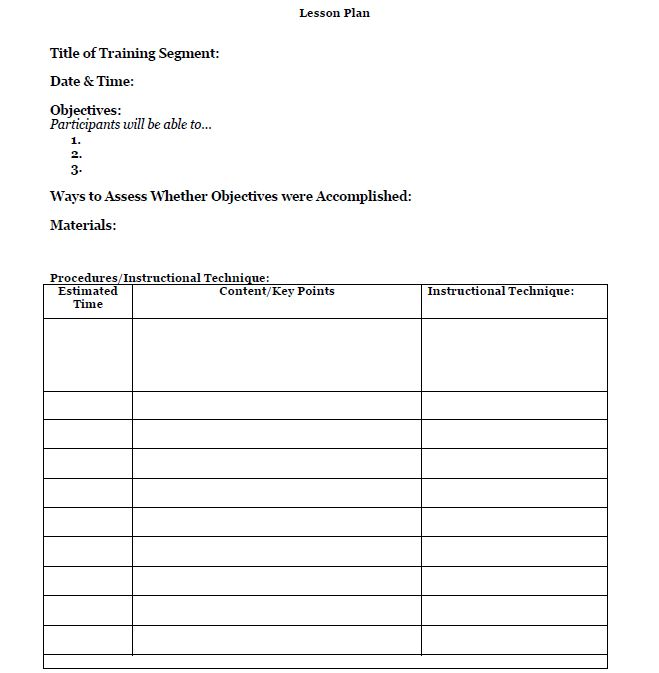 blank lesson plan for adult learners