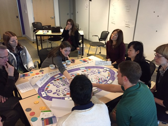 Playing the board game in new hire orientation