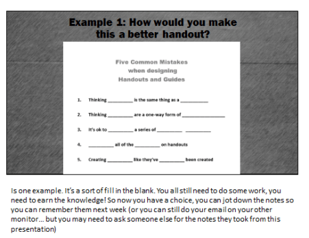 Fill in the blank training handout