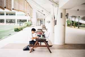 boy at table taking virtual classes