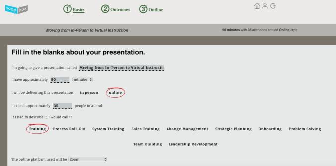 Defining the basics of your presentation