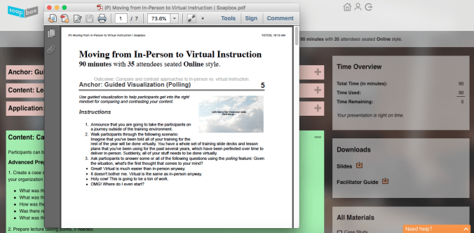 Virtual training session facilitator guide