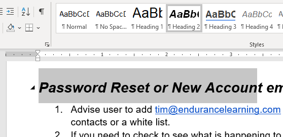 Check headers in the microsoft word job aid template