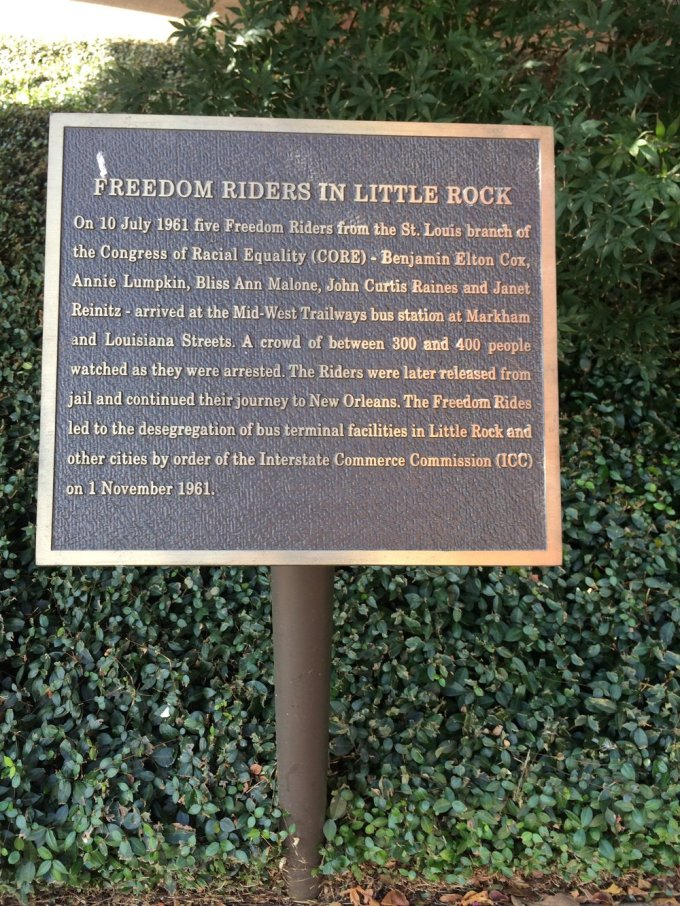 A plaque in downtown Little Rock.   Photo by B. WIng