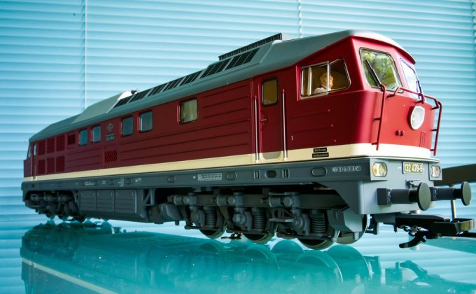 A PIKO G scale Deutsche Reichsbahn Class 132 diesel electric locomotive owned by the author. This beast weighs a bit over 11 pounds and is roughly two and a quarter feet long. The pulling power is incredible!