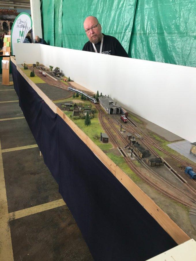 A TT scale model train module.