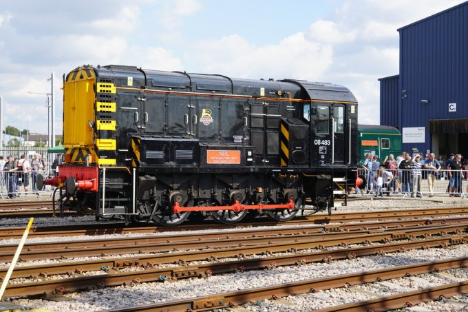 A  British Railways Class 8  diesel shunting locomotive. The first one was built in 1952.