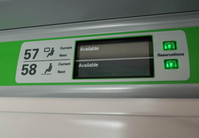 The seat reservation system on the Class 800. According to the conductor the system was not working properly, showing every single seat as being available.