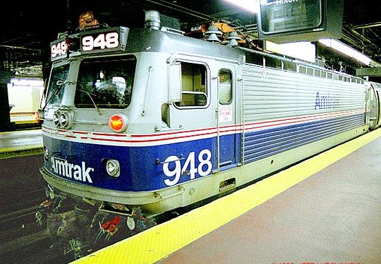 An Amtrak AEM-7 electric locomotive at Philadelphia 30th Street Station