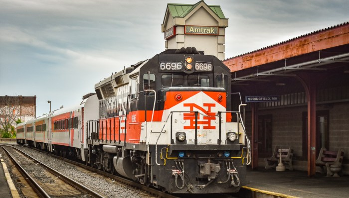 CTrail Hartford Line train in Springfield, Mass.