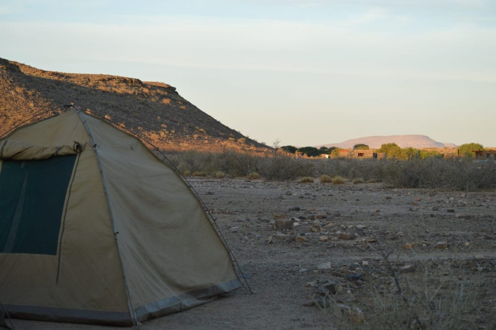 Everyone who goes to camp in Namibia uses the same tent.