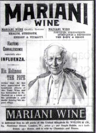 vin mariani pub avec pape