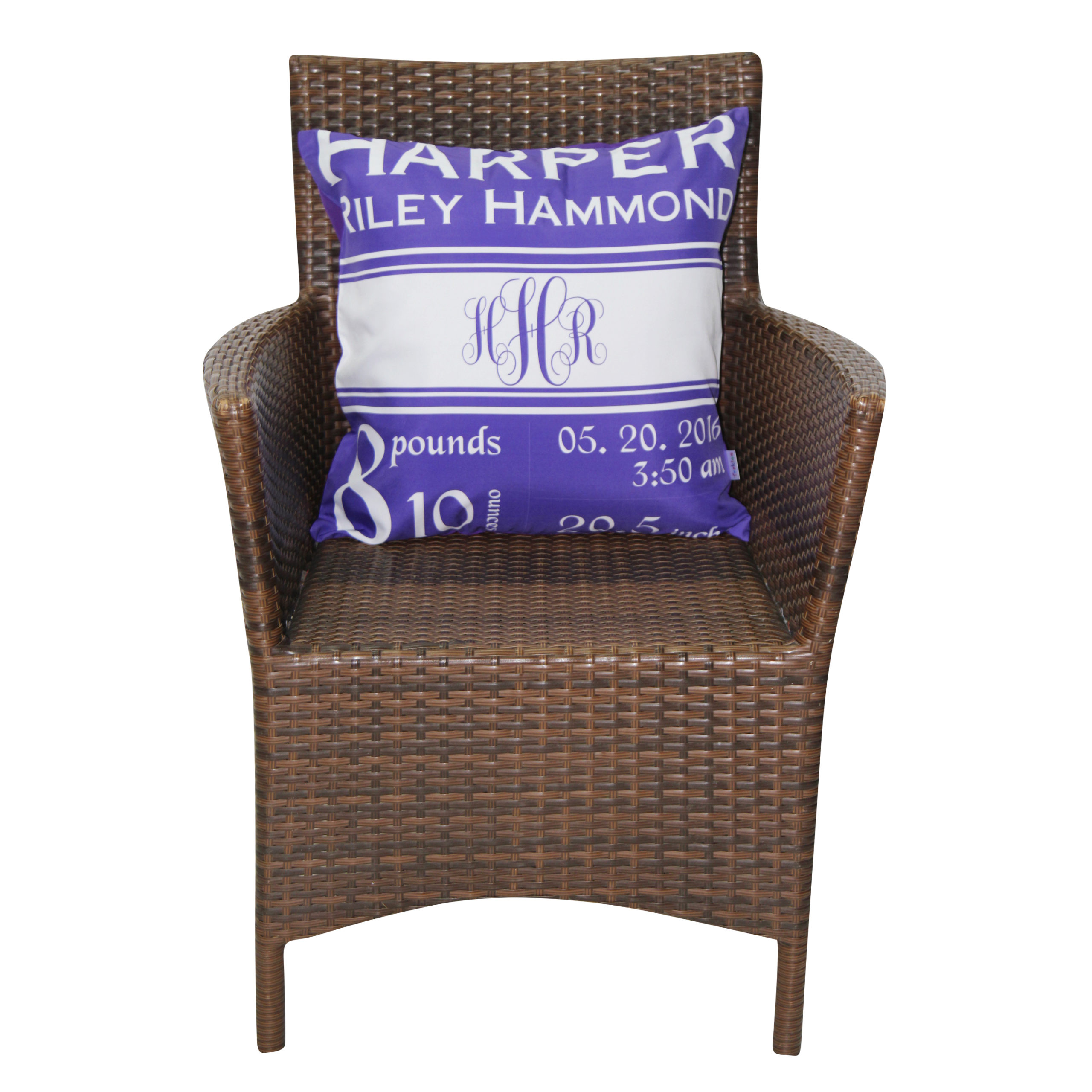 personalized monogram purple name birthdate weight inches baby girl pillow cover trakiee com
