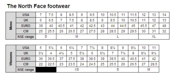 sizing charts the north face - 915×412