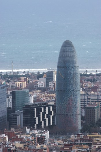 Torre agbar. The tower has quite few names. Some express exactly what it looks like :)