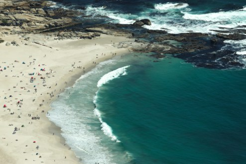 Camps Bay close up, zoom from Lion's Head, Cape Town, South Africa
