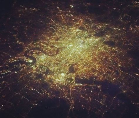 London from above at night