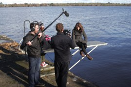 Filming a scene on Lough Derg in Tipperary.