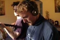 Liam Delahunty and Cian Moynan on set.