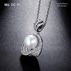 Dây chuyền vàng trắng ngọc trai cao cấp, cực đẹp, giá rẻ nhất (4)