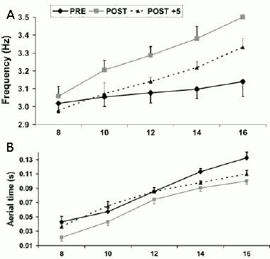 Graf A visar minskningen i stegfrekvens hos Fuchs som delvis fanns kvar även efter 5 månader. Graf B visar hur Fuchs minskade tiden han var i luften i varje steg och hur denna effekt kvarstod även efter 5 månader i vid högre hastigheter
