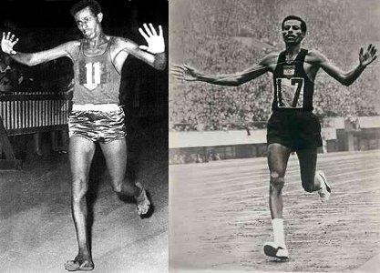 Abele Bikila när han vann OS 1960 barfota (till vä) och 1964 i skor (till hö)