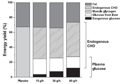 Procentuell fördelning mellan olika energikällor under cykeltesterna
