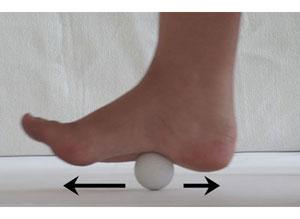 Självmassering av plantarfascian med en golfboll