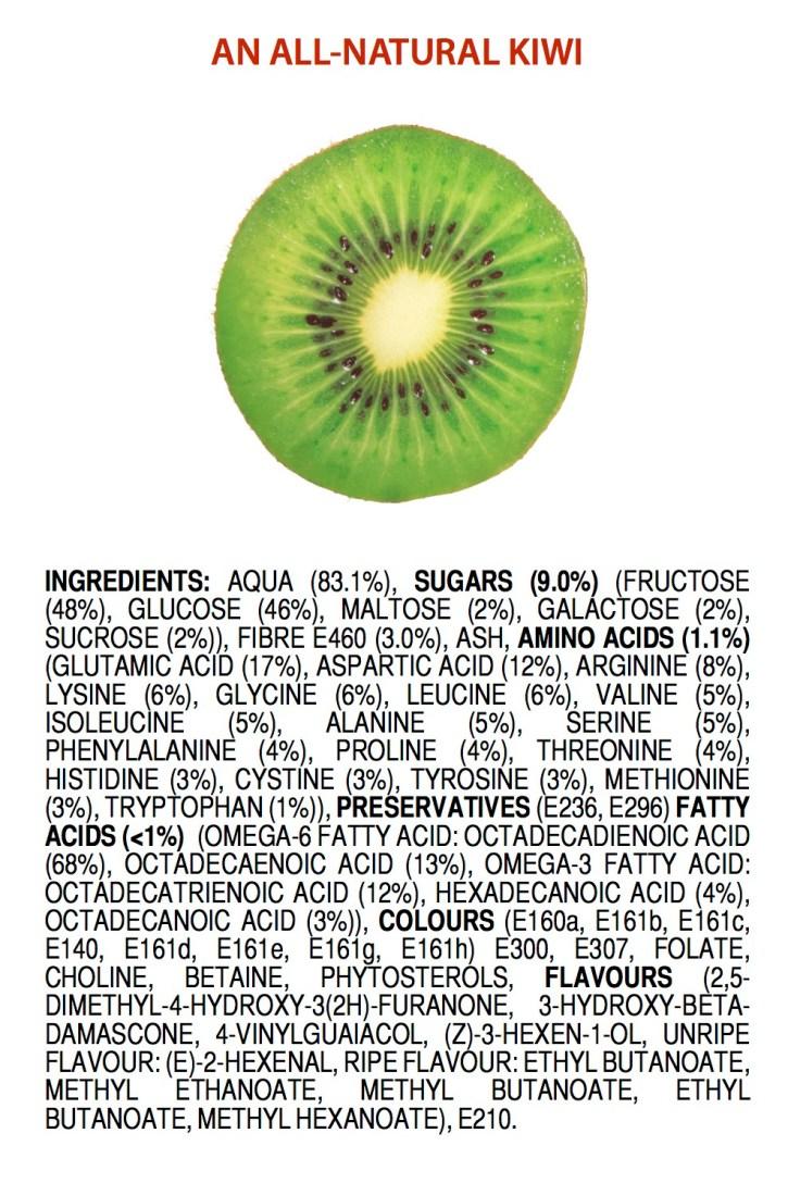 Helt naturliga ingredienser i en kiwi