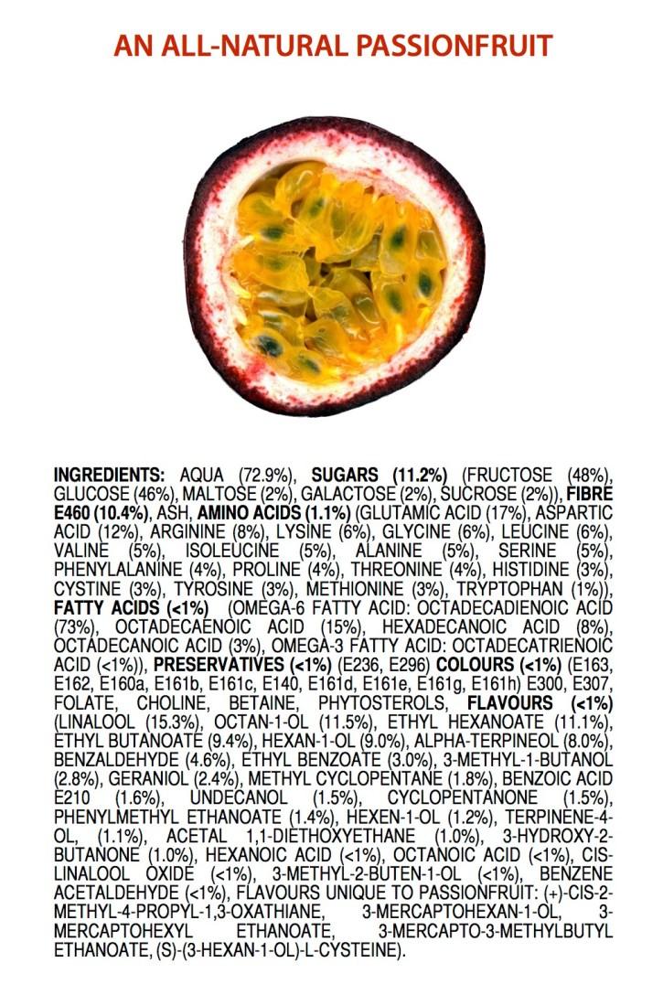 Helt naturliga ingredienser i en passionsfrukt