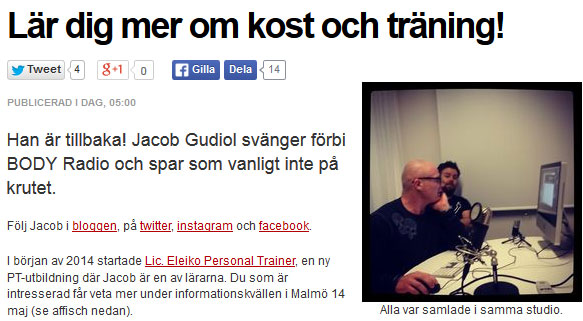 Jacob Gudiol medverkar i BODY-radio