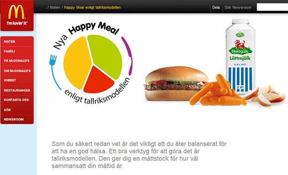 McDonalds säljer sin Happy Meal enligt kostcikeln
